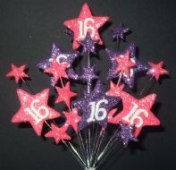 Star age 16th birthday cake topper decoration in bright pink and purple - free postage